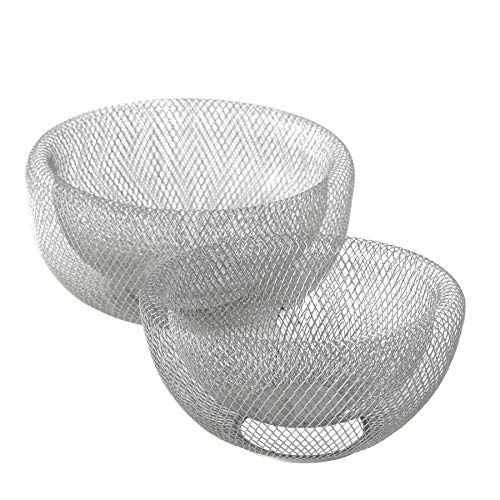 WHW Whole House Worlds Iconic Modern Wire Mesh Fruit Bowls, Set of 2, Art Museum Style, Zinc, Large, 11 Inches Diameter x 6 Tall, and 9 1/2 Diameter x 4 3/4 Inches