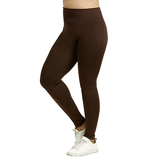 67c65005b49c7 Sofra Women's Extra Wide Band Plus Sized Full Length Leggings-Brown at Amazon  Women's Clothing store: