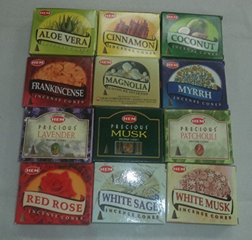 12 Assorted Boxes HEM Incense Cones, Set 12 X 10 (120 total)