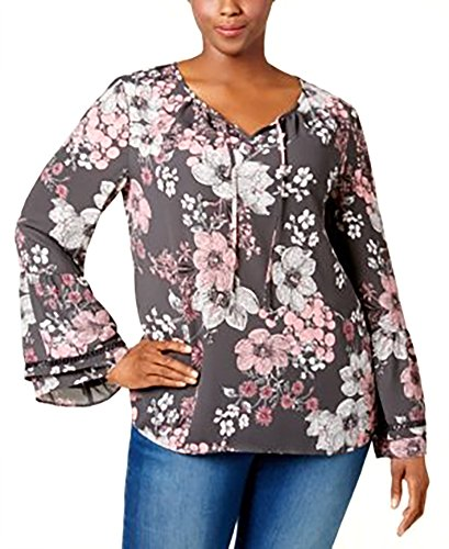 Style & Co. Womens Plus Romantic Charm Floral Print Pullover Top Pink 3X (. Blouse & Co Floral Style)