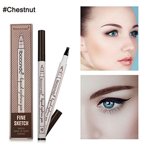 Vominice Eyebrow Tattoo Pen, Microblading Eyebrow Pencil with Four Tips,Waterproof Brow Gel, Fork Tip Applicator Creates Natural Looking Brows Effortlessly and Stays All Day (#01 - Chestnut)