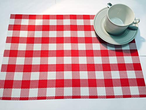 Vinyl Country Placemat - Vinyl Placemats Outdoor Placemats Waterproof Red Gingham Red Checkered Reversible Set of 4