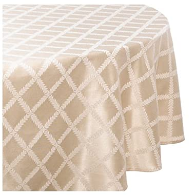 Lenox Laurel Leaf 70-by-104-Inch Oval Tablecloth, Ivory