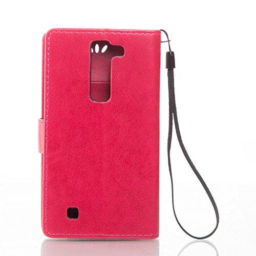 Funda LG G4c/LG G4 mini OuDu Carcasa de Billetera Funda PU Cuero Carcasa Suave Protectora con Correas de Teléfono Funda Arbol Flip Wallet Case Cover Bumper Carcasa Flexible Ligero Ultra Delgado Caja A Rojo
