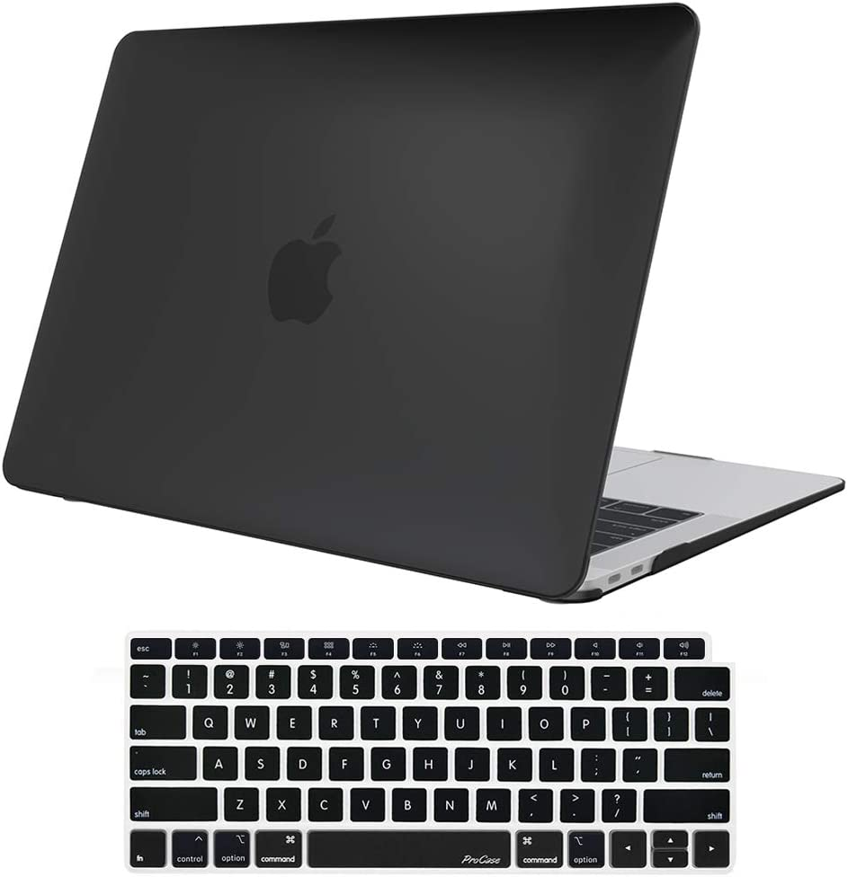 ProCase MacBook Air 13 Inch Case 2020 2019 2018 Release A2179 A1932, Hard Case Shell Cover for MacBook Air 13-inch Model A2179 A1932 with Keyboard Skin Cover –Black