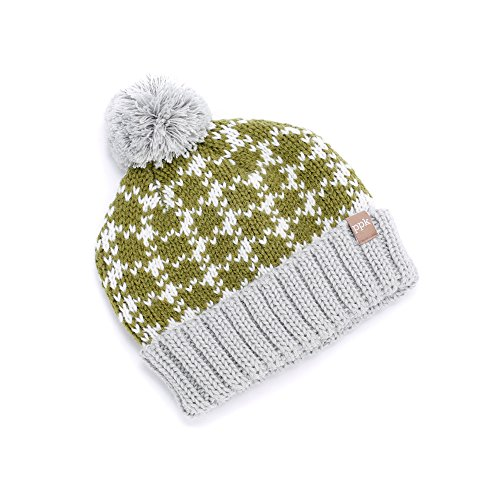 Boys Plaid Pompom Beanie ( thick jacquard knit) - Olive / Grey - XL (6-12Y)