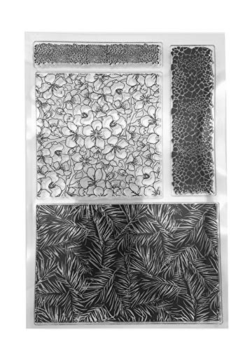 Flowers Palm Leaves Background Stamp Leopard Borders Rubber Clear Stamp/Seal Scrapbook/Photo Album Decorative Card Making Clear Stamps (Flower Border Rubber Stamp)