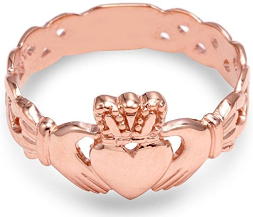 Ladies 14k Rose Gold Claddagh Ring with Trinity Band (9.75) (Gold Knot Ring Claddagh)
