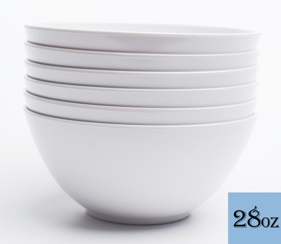 Yinshine Melamine Cereal Bowls - 6 Inch White Dinnerware Soup Bowls Set, Pack of 6