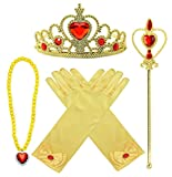 Toys : Princess Belle Dress up Accessories 4 Gifts Set Gold Gloves Tiara Crown Necklace Wand