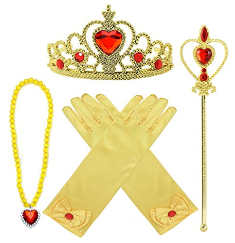 Princess Belle Dress up Accessories 4 Gifts Set Gold Gloves