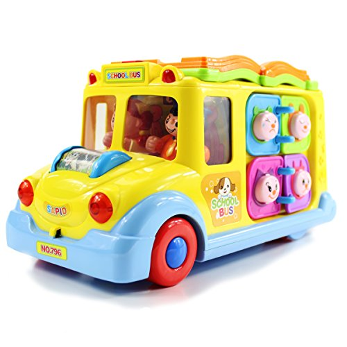 fisca Intellectual Musical School Bus, Learning Educational Toys for Baby & Toddler, Electronic Car with Lights for 1 2 3 Year Old Boys and Girls ()