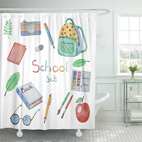 Paintbox Fabric (Emvency Fabric Shower Curtain Curtains with Hooks Colorful Bag Watercolor Hand Drawn of School Items Lesson Backpack Camera Leaf Pen Apple Artist 66