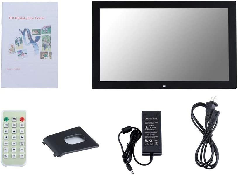 Oureong Digital Photo Frame 19 Inch Digital Photo Frame 1366768 Pixels High Resolution LED Screen 1080P HD Video Playback USB and SD Card Slots Remote Control Included 2 Colors
