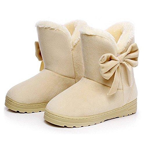 Minetom Mujeres Otoño Invierno Botines Zapatos Calientes Moda Botas Con Bowknot Beige