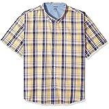 IZOD Men's Big and Tall Short-Sleeve Saltwater Plaid Shirt, Sunlight, 3X-Large Big