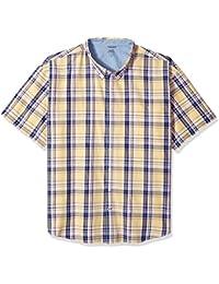 Men's Big and Tall Short Sleeve Saltwater Plaid Shirt