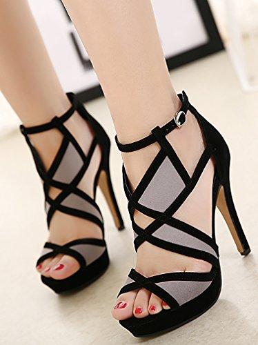 Calaier Femme Salag Open-toe 11.5cm Stiletto Boucle Sandales Chaussures Noir