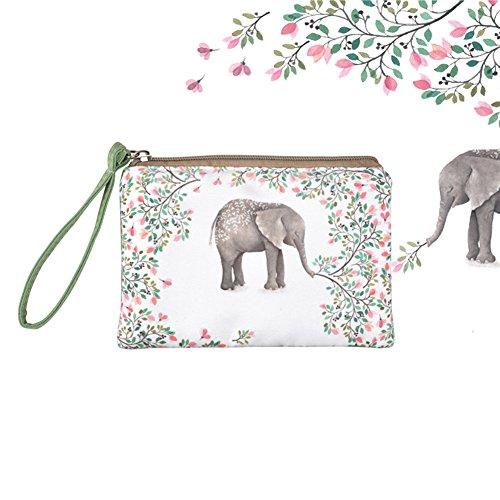 Elephant Purse - Rantanto Cute Classic Exquisite Canvas Cash Coin Purse, Make up Bag, Cellphone Bag with Handle (BG0001 Flower Elephant)