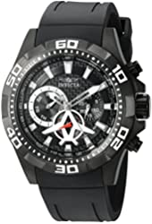 Invicta Men's 'Aviator' Quartz Stainless Steel and Polyurethane Automatic Watch, Color:Black (Model: 21741)