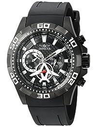 Invicta Men's 'Aviator' Quartz Stainless Steel and Polyurethane Automatic Watch, Black (Model: 21741)