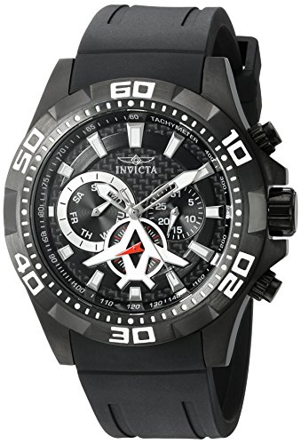 Invicta Men's 'Aviator' Quartz Stainless Steel and Polyurethane Watch, Color:Black (Model: 21741) Polyurethane Round Watch