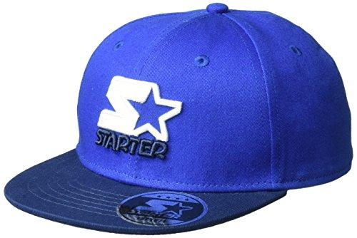 Hat Starter Adjustable (Starter Boys' Snapback Flat Brim Cap, Prime Exclusive, Team Blue, One Size)