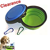 MCBOSON 2-Pack Collapsible Silicone Dog Bowl- Food Grade 100% BPA Free & Lead-free Premium Quality Green & Blue Pet Travel Bowl for Food & Water- Carabiners Included