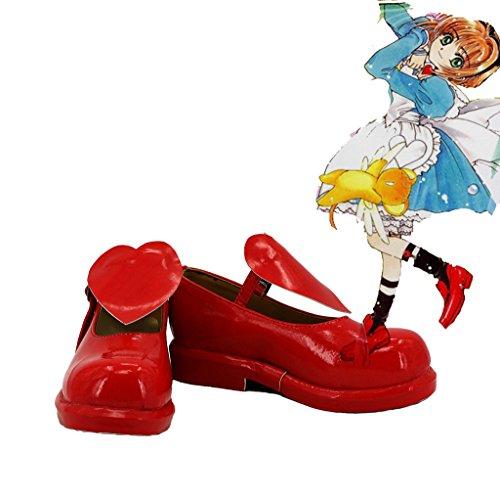 Sakura Kinomoto Cosplay Kängor Skräddarsydda Röd 1