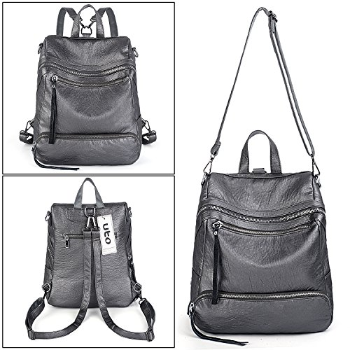 Ladies Rucksack Women Convertible Silver Leather UTO Shoulder Backpack Fashion Purse Bag Grey 3 Ways PU qx5z5vCTw