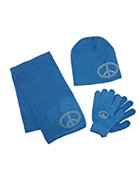 CTM® Girls' Stud Accent Hat Glove and Scarf Winter Set, Blue