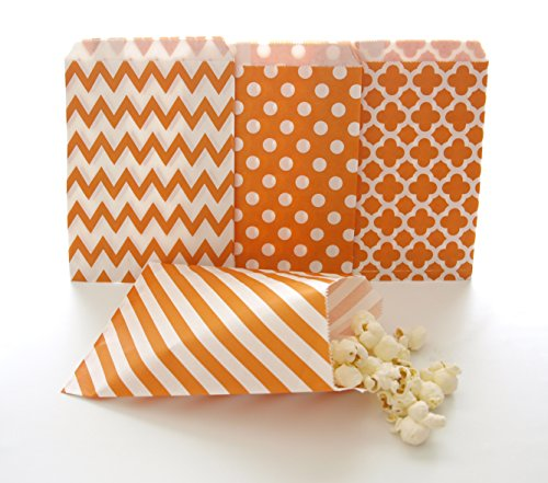Orange Party Goody Bags (100 Pack) - Fall Birthday or Autumn Wedding Favors - Halloween Candy Buffet Paper Bags -
