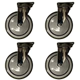 Service Caster – 6'' Non-Marking Gray Polyurethane Wheel – 4 Stainless Steel Swivel Casters – Set of 4