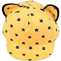 Voberry Toddler Baby Kids Boys Girls Cat Ears Baseball Hat Peak Cap Sun Hat (Yellow)
