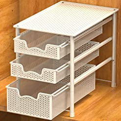 Kitchen Simple Houseware Stackable 3 Tier Sliding Basket Organizer Drawer, White pull-out organizers