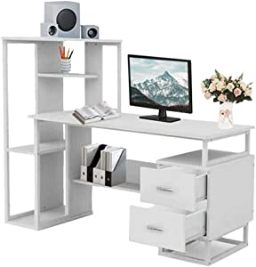 Fitfulvan Computer Desk with Storage Shelves and 2 Drawers, 47 inch Writing Desk Laptop Notebook Table for Home Office