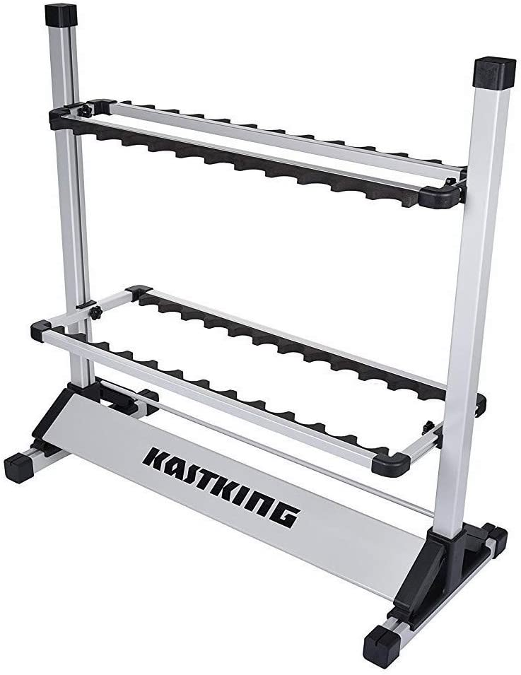 KastKing Fishing Rod Rack Perfect Fishing Rod Holder – Holds Up to 24 Rods – 24 Rod Rack for All Types of Fishing Rods and Combos 12 Rod Rack for Freshwater Rods – ICAST Award Winner