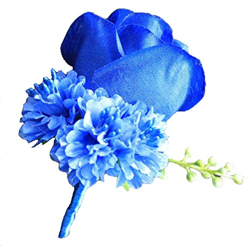 WeddingBobDIY Boutonniere Buttonholes Groom Groomsman Best Man Rose Wedding Flowers Accessories Prom Suit Decoration Royal Blue