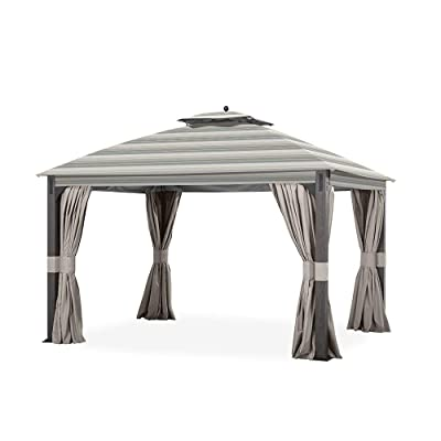 Garden Winds Replacement Canopy for The Shadow Creek Gazebo - Standard 350 - Stripe Stone : Garden & Outdoor