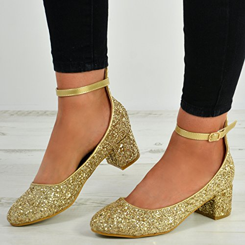 Cucu Fashion New Womens Ladies Ankle Strap Buckle Low Block Heel Sparkle Shoes Size UK 3-8 Gold 5xoTid