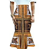 neveraway Womens Africa Print Mermaid Midi Dashiki Fashion Bodycon Skirt 12 XL