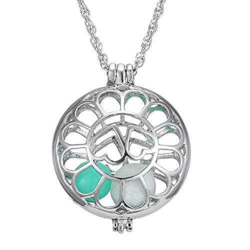 Dazzle flash silver tone two hearts embracing hollow out pendant glow in the dark beads locket necklace N302-21 ()