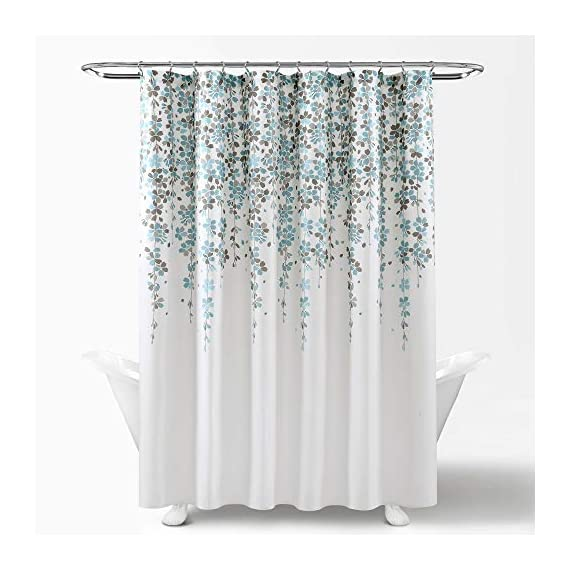 Lush Decor, Blue and Gray Weeping Flower Shower Curtain-Fabric Floral Vine Print Design, x 72 - Soft, 100% polyester fabric shower curtain with a delicate floral design. Calming, decorative design with cascading flowers create a charming shower curtain for any bathroom. Lush Décor Weeping Flower shower curtain features a delicate vine-like design for your traditional or minimalist style bathroom decor. - shower-curtains, bathroom-linens, bathroom - 51CPZKIoygL. SS570  -