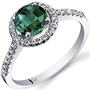 14K White Gold Created Emerald Halo Ring Round Checkerboard Cut 1.00 Carats Sizes 5 to 9