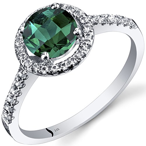 14K White Gold Created Emerald Halo Ring Round Checkerboard Cut 1.00 Carats Size 8 ()