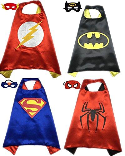 4 Pack Superhero or Princess CAPE & MASK SETS Kids Childrens Halloween Costumes (Flash Batman Superman (Batman Costume Sydney)