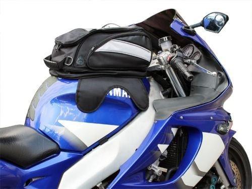 Motorcycle Sport Bike Riding Magnetic Gas Tank Bag Backpack w/ Rain Cover (Black) (Magnetic Tank Bag Base)