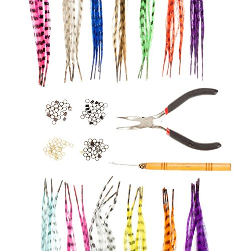 Great Value Hairdressers Salons Quality Styling Set Kit With 52pcs Feather Extensions / Hair Pieces In 13 Different Colors, 100pcs Silicone Micro Beads In 4 Colors, Pliers And Wooden Hook By VAGA