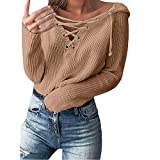 Ankola Hoodie Women's Lace Up Front V-Neck Pullover Loose Sexy Batwing Sleeve Knitted Hooded Sweater Winter Tops (M, Khaki)