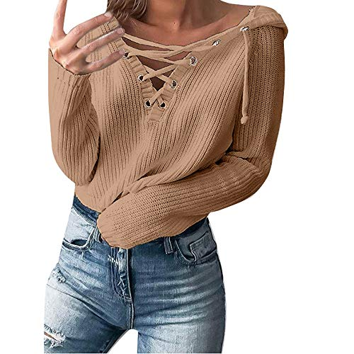 URIBAKE ❤️ Women's Hooded Sweater Lace Up Collar Coat Knitted Oversized Ladies's Elegant Jumper Tops Khaki]()